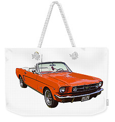 1965 Red Convertible Ford Mustang - Classic Car Weekender Tote Bag by Keith Webber Jr
