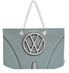 Weekender Tote Bag featuring the photograph 1965 Volkswagen Beetle Hood Emblem by Jani Freimann