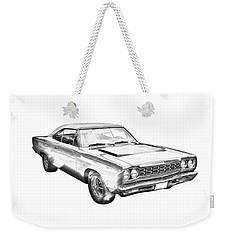1968 Plymouth Roadrunner Muscle Car Illustration Weekender Tote Bag