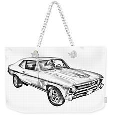 1969 Chevrolet Nova Yenko 427 Muscle Car Illustration Weekender Tote Bag