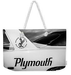 1970 Plymouth Superbird Emblem -0520bw Weekender Tote Bag
