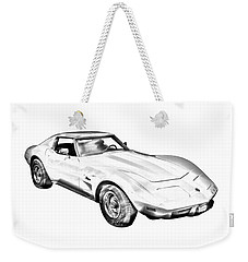 1975 Corvette Stingray Sports Car Illustration Weekender Tote Bag