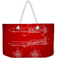 1975 Space Vehicle Patent - Red Weekender Tote Bag by Nikki Marie Smith