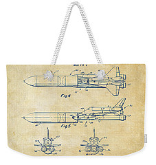 1975 Space Vehicle Patent - Vintage Weekender Tote Bag by Nikki Marie Smith