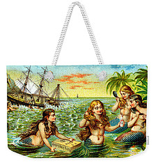 19th C. Mermaids At Ship Wreck Weekender Tote Bag