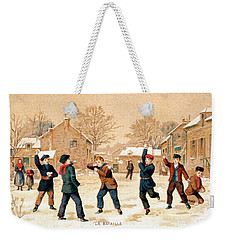 19th C. Snowball Fight Weekender Tote Bag