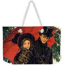 19th C. Young Couple In Winter Weekender Tote Bag