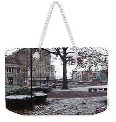 Weekender Tote Bag featuring the photograph 1st Snow Public Square by Christina Verdgeline