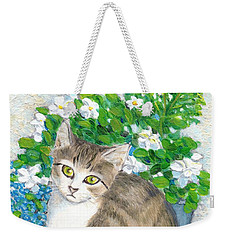 Weekender Tote Bag featuring the painting A Cat And Flowers by Jingfen Hwu