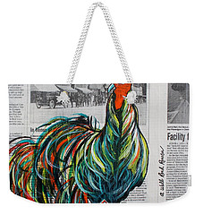 Weekender Tote Bag featuring the painting A Well Read Rooster by Janice Rae Pariza