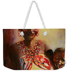 Weekender Tote Bag featuring the painting African Mother And Child by Sher Nasser