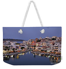 Agios Nikolaos City During Dusk Time Weekender Tote Bag
