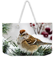 Christmas Sparrow Weekender Tote Bag by Christina Rollo