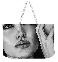 Angelina Jolie Black And Whire Weekender Tote Bag