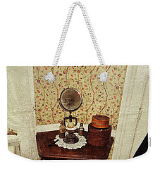 Weekender Tote Bag featuring the photograph Antique Toiletry by Jean Goodwin Brooks