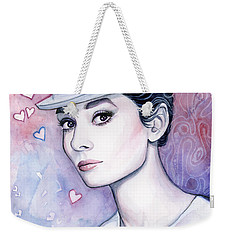Audrey Hepburn Fashion Watercolor Weekender Tote Bag by Olga Shvartsur