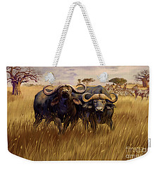 Weekender Tote Bag featuring the digital art 2 Bad Duga Boys  by Rob Corsetti