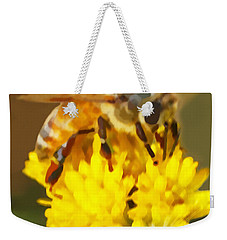 Bee On A Yellow Flower Weekender Tote Bag by Marian Cates