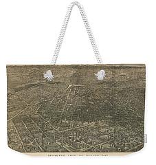 Birdseye Map Of Denver Colorado - 1887 Weekender Tote Bag by Eric Glaser