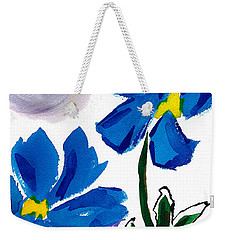 Weekender Tote Bag featuring the painting 2 Blue Petunias Abstract by Frank Bright