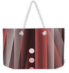 Weekender Tote Bag featuring the digital art Buttons And Stripes 2 by Mary Bedy