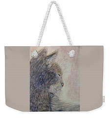 Weekender Tote Bag featuring the painting Cat Nap by Angela Davies