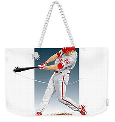 Weekender Tote Bag featuring the digital art Chase Utley by Scott Weigner