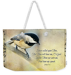 Chickadee With Verse Weekender Tote Bag by Debbie Portwood