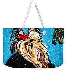 Weekender Tote Bag featuring the painting Christmas Card by Nora Shepley