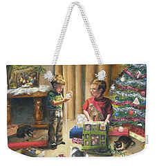 Weekender Tote Bag featuring the painting Christmas Time by Lori Brackett