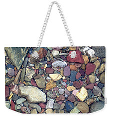 Weekender Tote Bag featuring the photograph Colorful Lake Rocks by Kerri Mortenson