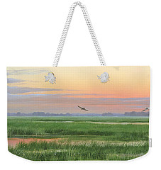 Weekender Tote Bag featuring the painting Divine Whisper by Mike Brown