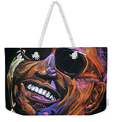 Weekender Tote Bag featuring the mixed media electric Ray Charles by Peter Suhocke