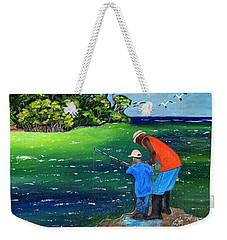Fishing Buddies Weekender Tote Bag by Laura Forde