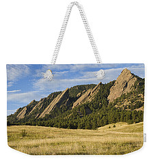 Flatirons With Golden Grass Boulder Colorado Weekender Tote Bag