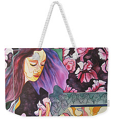 Weekender Tote Bag featuring the painting Garden Secrets by Diana Bursztein