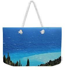 green and blue Erikousa Weekender Tote Bag