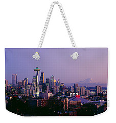High Angle View Of A City At Sunrise Weekender Tote Bag