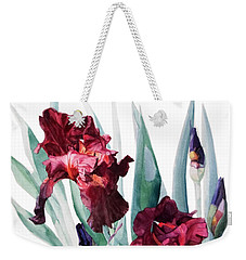 Dark Red Tall Bearded Iris Donatello Weekender Tote Bag