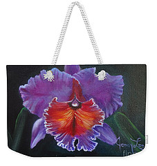 Weekender Tote Bag featuring the painting Lavender Orchid by Jenny Lee
