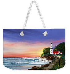 Lighthouse On The Cliff Weekender Tote Bag by Anthony Fishburne