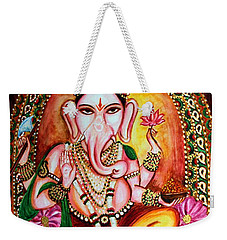 Weekender Tote Bag featuring the painting Lord Ganesha by Harsh Malik