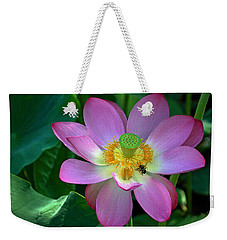 Weekender Tote Bag featuring the photograph Lotus Flower by Jerry Gammon