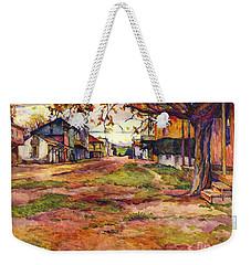 Main Street Of Early Spanish California Days San Juan Bautista Rowena M Abdy Early California Artist Weekender Tote Bag