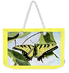 Weekender Tote Bag featuring the painting Male Eastern Tiger Swallowtail by Angela Davies