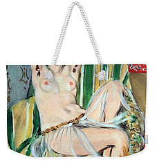 Matisse's Odalisque Seated With Arms Raised In Green Striped Chair Weekender Tote Bag