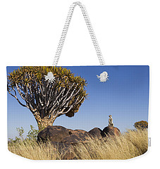 Meerkat In Quiver Tree Grassland Weekender Tote Bag by Vincent Grafhorst