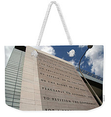 Weekender Tote Bag featuring the photograph The Newseum by Cora Wandel