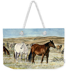 Weekender Tote Bag featuring the painting Nine Horses by Melly Terpening