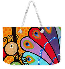 Weekender Tote Bag featuring the painting 2 Peacocks And Tree by Pristine Cartera Turkus